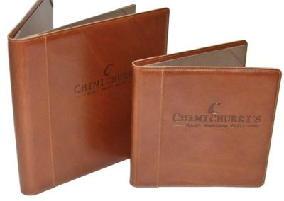 leather debossed menus