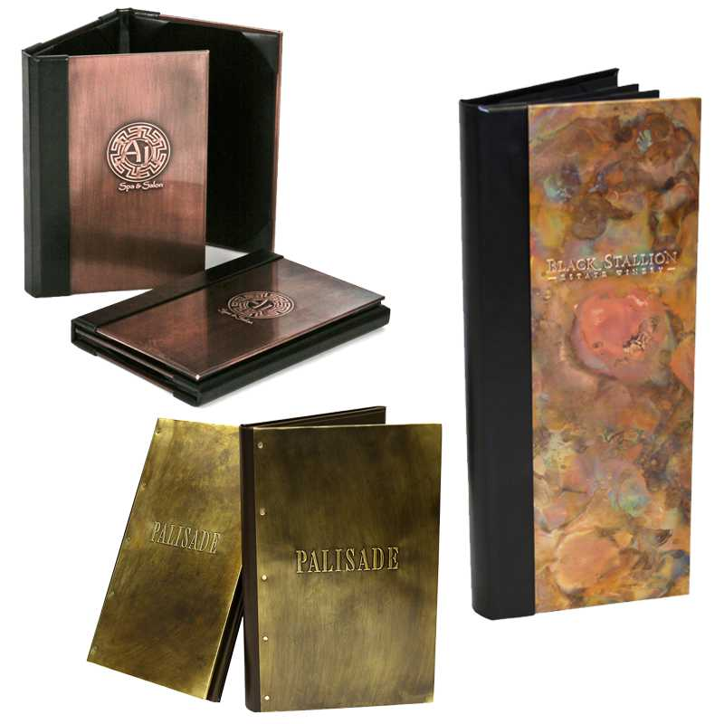 metal menu cover, metal restaurant menu cover, metal club menu cover, custom metal menu cover