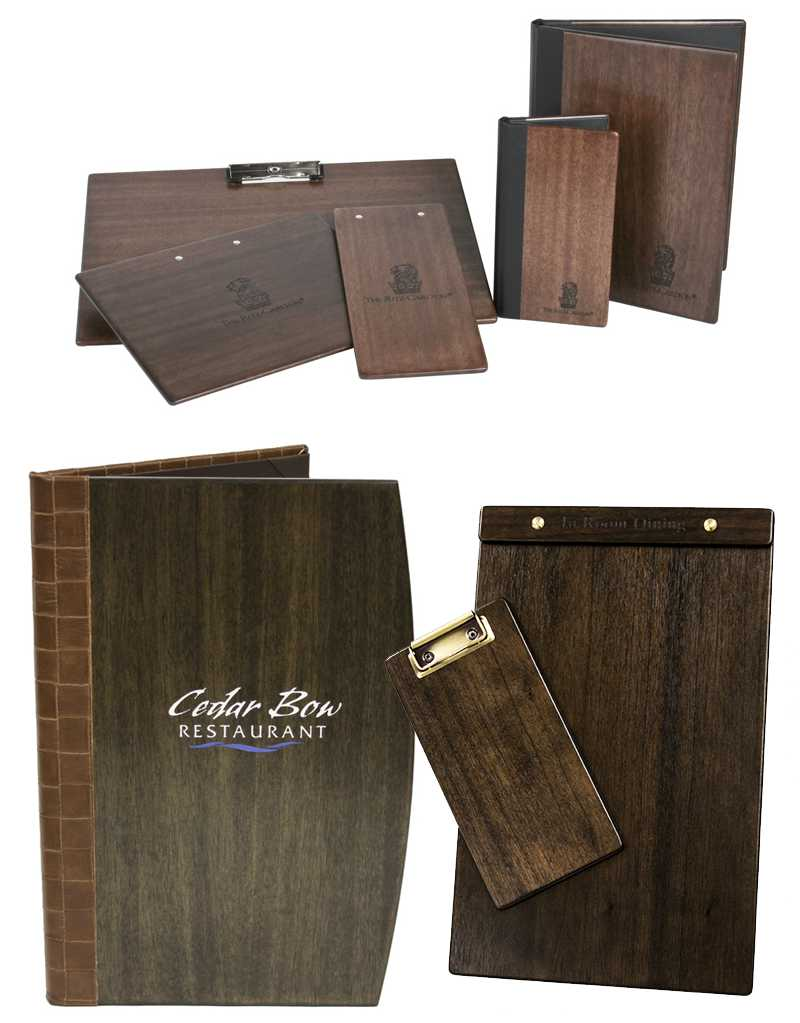 Custom made wood boards, menu covers restaurants, hotels, clubs, bars
